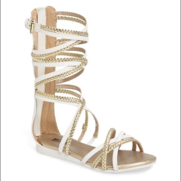 147bc9d67d3 MichaelKors girls gold and white gladiator sandals